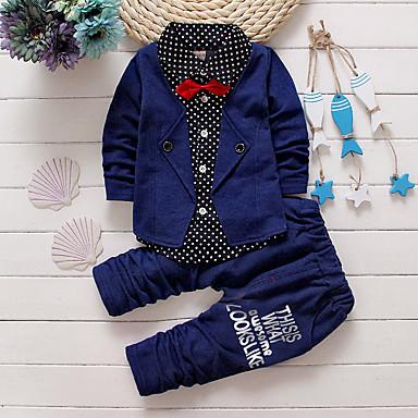 billige Sett med Drenge babyklær-Baby Drenge Indendørs / Skole / Afslappet / Hverdag Ensfarvet Langærmet Normal Bomuld Tøjsæt Rød
