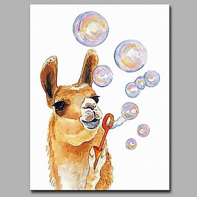 Hang festett olajfestmény Kézzel festett - Állatok Művészi Rajzfilmfigura Vászon