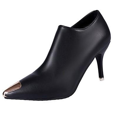 Women's Shoes PU Fall / Winter Combat Boots Boots Pointed Toe Mid-Calf Boots Zipper Black / Kitten Heel