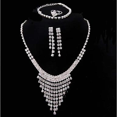 Damskie Posrebrzany Biżuteria Ustaw 1 Naszyjnik 1 Bransoletka Náušnice - Modny Silver Zestawy biżuterii Bridal Jewelry Sets Na Ślub