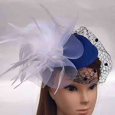 Tulle / Net Fascinators / Hats / Birdcage Veils with Feather 1 Wedding / Special Occasion / Event / Party Headpiece