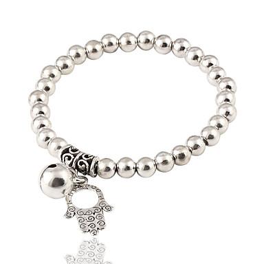 abordables Bracelet-Bracelet à Perles Femme dames Mode Elégant Bracelet Bijoux Argent Rond Main de Fatma pour Anniversaire Cadeau