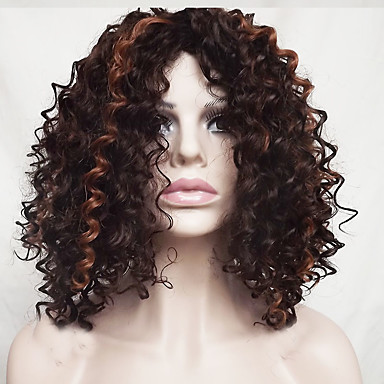 Synthetic Wig Wavy / Jerry Curl Bob Haircut / With Bangs Synthetic Hair Highlighted / Balayage Hair Brown Wig Women's Short / Medium Length Capless