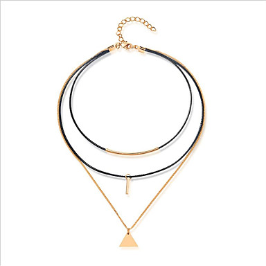 Women's Layered Necklace - Leather, Gold Plated Black / Multi Layer / Casual