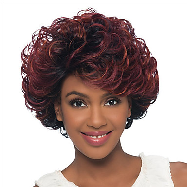 Szintetikus parókák Göndör / Kinky Curly Szintetikus haj Ombre haj Piros Paróka Női Rövid Sapka nélküli Fekete / Vörös
