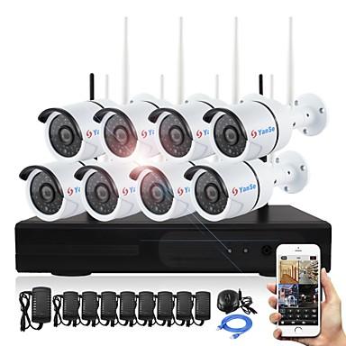 YanSe® Plug and Play 8CH Wireless NVR Kits 960P Waterproof IR Night Vision Security WIFI IP Camera 36LEDs Surveillance CCTV DVR System