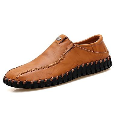 Men's Leatherette / Cowhide Spring / Fall Comfort Loafers & Slip-Ons Black / Brown / Wine