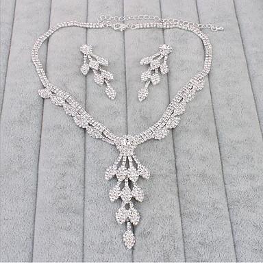Women's Rhinestone Jewelry Set Earrings Necklace - Drop Earrings Necklace For Wedding Party