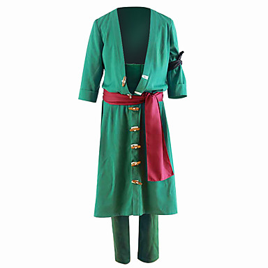 Inspired by One Piece Roronoa Zoro Anime Cosplay Costumes Cosplay Suits Solid Colored Coat / Pants For Men's