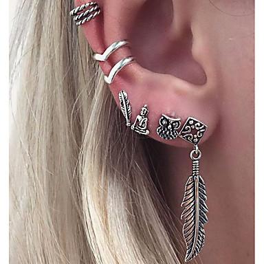 Női Klipszes fülbevalók Rendhagyó fülbevalók - Leaf Shape, Bagoly, Zvijezda Személyre szabott, Vintage, Divat Ezüst Kompatibilitás Születésnap Ajándék Napi / 6db