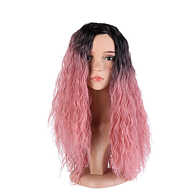 Synthetic Wig Deep Wave Pink Synthetic Hair Ombre Hair / Dark Roots / Side Part Pink Wig Women's Long Capless