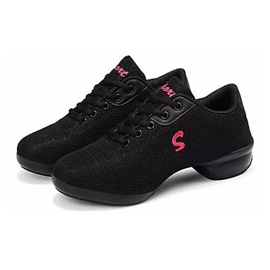 Női Tánccipők Tüll Félcipő Vaskosabb sarok Dance Shoes Fehér / Fekete