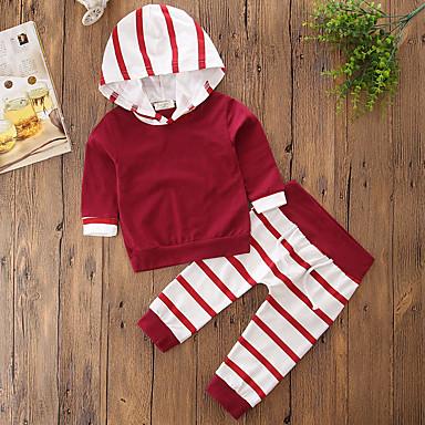 Kisgyermek Lány Csíkos / Elegáns ruházat Egyszínű / Csík Hosszú ujj Pamut Ruházat szett