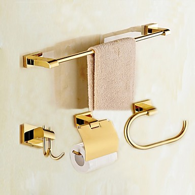 Bathroom Accessory Set Modern Style / Classical Brass 4pcs - Hotel bath Toilet Paper Holders / Robe Hook / tower bar Wall Mounted