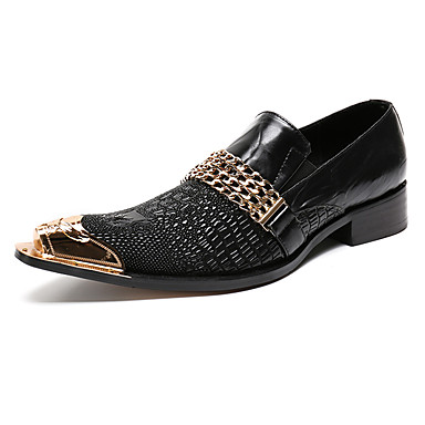 Men's Formal Shoes Leather / Nappa Leather Spring / Fall Comfort Loafers & Slip-Ons Black / Wedding / Party & Evening / Novelty Shoes
