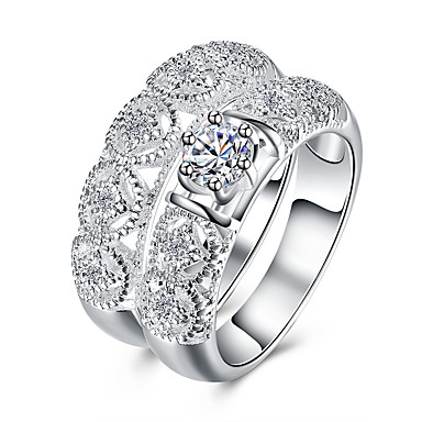 Women's Cubic Zirconia Band Ring - Zircon, Silver Plated Roses, Flower Basic, Fashion 6 / 7 / 8 Silver For Party / Office & Career