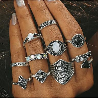 voordelige Herensieraden-Dames Ring Turkoois 10 stuks Goud Zilver Turkoois Legering Geometrische vorm Statement Dagelijks Sieraden meetkundig