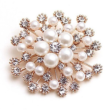 Women's Synthetic Diamond Brooches - Imitation Pearl Flower Classic, Fashion Brooch Gold For Daily / Date