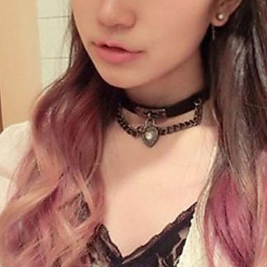 Női Rövid nyakláncok / Nyaklánc medálok - Bőr Szív Rock Fekete Nyakláncok Ékszerek Kompatibilitás Napi, Klub