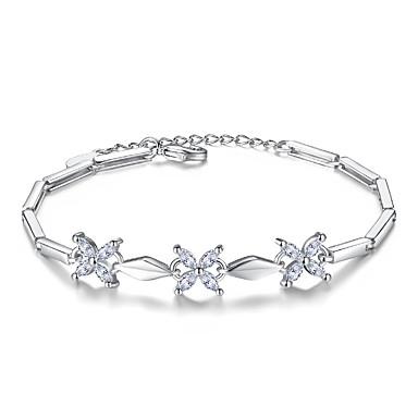 voordelige Armband-Dames Kubieke Zirkonia Armbanden met ketting en sluiting Baht Chain Bloem Dames Sterling zilver Armband sieraden Zilver Voor Bruiloft Feest