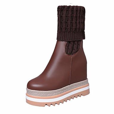 à Bottes slouch Confort rond Mode Automne bottes Synthétique Bout Hiver Bottes Chaussures de Cuir Tricot Croûte 06317836 Femme la Bottes ZwSfqvq