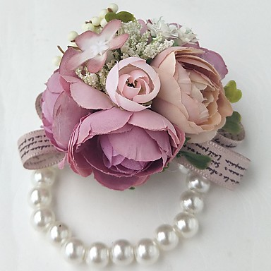 Esküvői virágok Virágcsokrok csuklóra Esküvő Poliészter 3.94 hüvelyk
