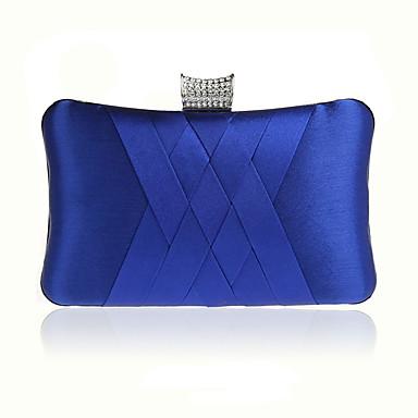 billige Vesker-Dame Krystalldetaljer Silke Aftenveske Rhinestone Crystal Evening Bags Fuksia / Vin / Marineblå