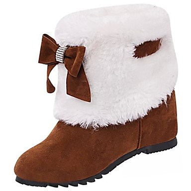 voordelige Dameslaarzen-Dames Laarzen Ronde Teen Strik Kasjmier Snowboots Winter Zwart / Kameel / Bordeaux