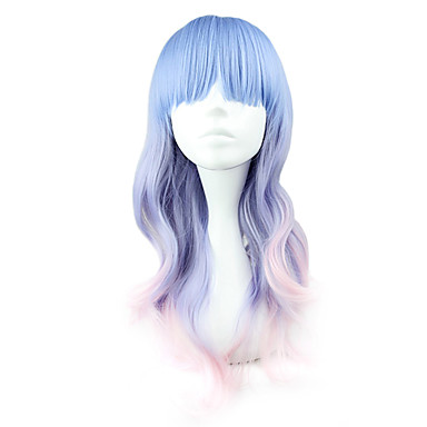 Lolita Perücken Niedlich Blau Farbverläufe Lolita Perücken 55 CM Cosplay Perücken Patchwork Perücke Für