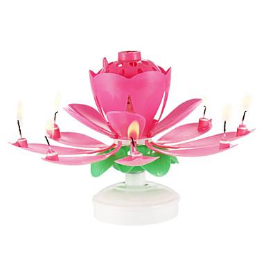 gelukkige verjaardagskaarsen elektrisch geleid voor cake muzikale lotusbloemkunst de lamppartij van roterende lichtenpartij