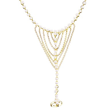 Women's Geometric Chain Bracelet / Ring Bracelet - Imitation Pearl, Rhinestone Bling Bling Bracelet Gold For Wedding / Date