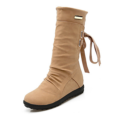 Women's Shoes Leatherette Fall / Winter Fashion Boots / Snow Boots / Ankle Strap Boots Platform / Wedge Heel Round Toe Mid-Calf Boots