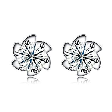 Women's Crystal / Cubic Zirconia Stud Earrings - Sterling Silver, Zircon Heart Personalized, Fashion Silver For Wedding / Party