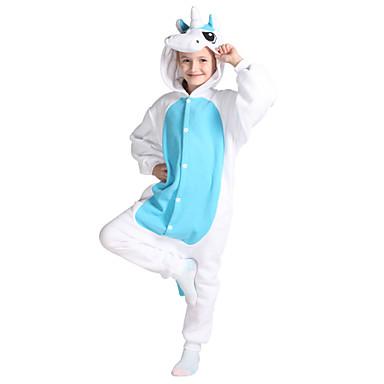 Pijamas Kigurumi Unicórnio Pijamas Macacão Ocasiões Especiais Lã Polar Azul Cosplay Para Crianças Pijamas Animais desenho animado Dia das