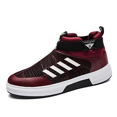 Herrn Schuhe Leder PU Winter Herbst Komfort Leuchtende Sohlen Sneakers für Normal Draussen Schwarz Grau Rot