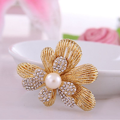 Women's Synthetic Diamond Brooches - Rhinestone Flower Classic, Fashion Brooch Gold For Birthday / Daily