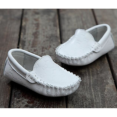 Boys' Shoes Leather Spring / Fall Moccasin Loafers & Slip-Ons for White / Black / Light Blue