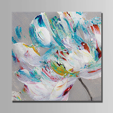 Oil Painting Hand Painted - Floral / Botanical Abstract Canvas / Stretched Canvas