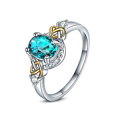 Women's AAA Cubic Zirconia Geometric Engagement Ring - Cubic Zirconia Dainty, Luxury, Punk 6 / 7 / 8 / 9 Blue For Wedding Evening Party
