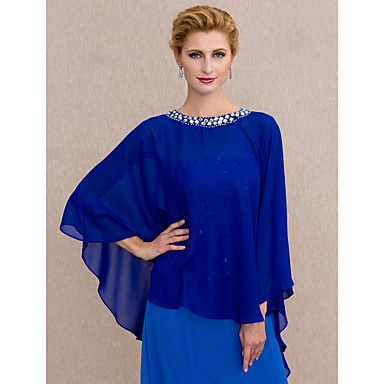 Chiffon Wedding / Party / Evening Women's Wrap With Beading / Buttons Capes