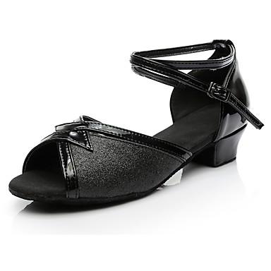 Kadın's Dans Ayakkabıları Payetli Latin Dans Ayakkabıları Topuklular Düşük Topuk Kişiselleştirilmiş Siyah / Egzersiz