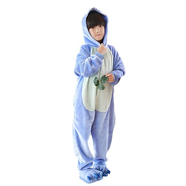 Kid's Kigurumi Pajamas with Slippers Anime / Blue Monster Onesie Pajamas Costume Flannel Fabric Pink / Blue Cosplay For Animal Sleepwear Cartoon Halloween Festival / Holiday / Christmas