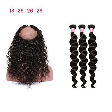 baratos Extensões de Cabelo Natural-3 pacotes com fechamento Cabelo Malaio Encaracolado / Ondulação Larga Cabelo Remy Tramas de cabelo humano Extensões de cabelo humano