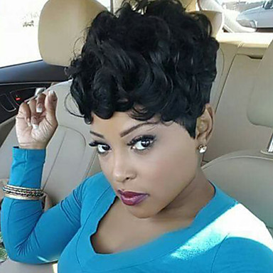 Human Hair Curly / Jerry Curl Hot Sale Short Machine Made Wig Women's
