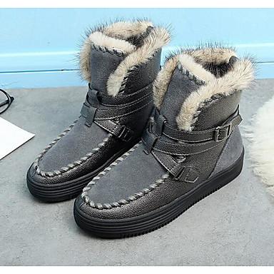 Noir Cuir neige Femme Bottes Hiver Bottes Gris Bout Chaussures pointu 06294609 de BwqqnzxH5