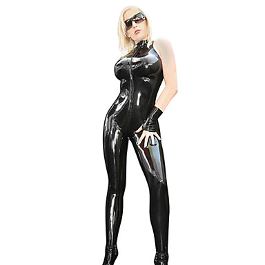 Superstar Zentai Suits Cosplay Costume Women's Sexy Uniforms Christmas Halloween Carnival Festival / Holiday PU Leather Polyurethane Leather Outfits Black Solid Colored