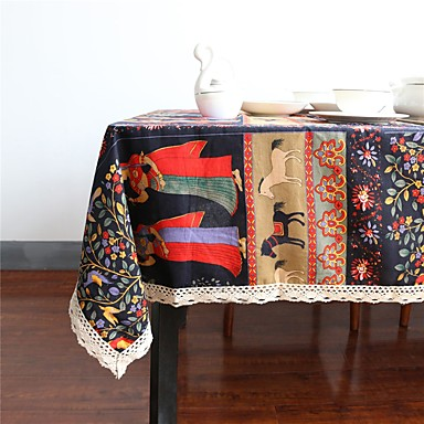 Linen Cotton Blend Rectangular Square Table Cloths Bohemian Style
