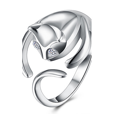Women's Ring - Copper, Silver Plated Cat Fashion, Open One Size Silver For Party / Office & Career
