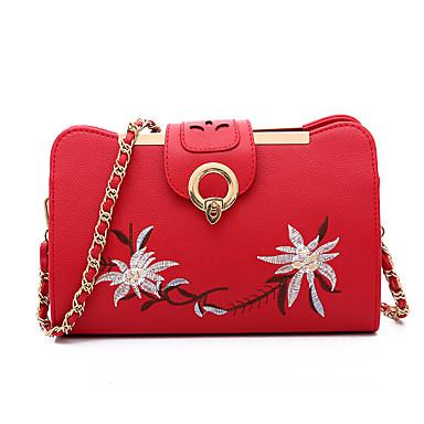 Női Táskák PU Vállon átvetős táska Hímzés Hímzés Arcpír rózsaszín / Katonazöld / Szürke