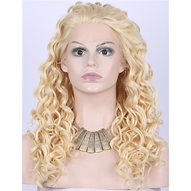 Synthetic Lace Front Wig Curly / Wavy Blonde Synthetic Hair Blonde Wig Women's Medium Length / Long Lace Front